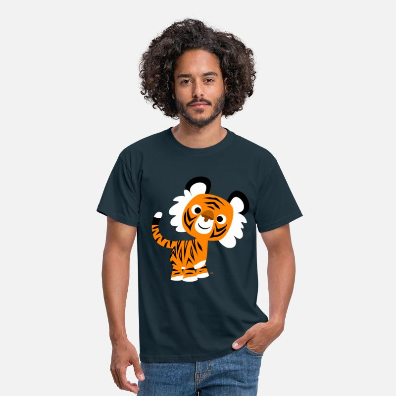 Art T-Shirts - Hello!! Cute Cartoon Tiger by Cheerful Madness!! - Men's T-Shirt navy