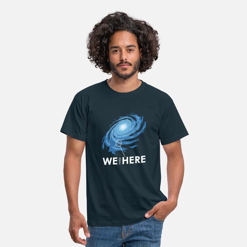 Space T-Shirts - we are here - Men's T-Shirt navy