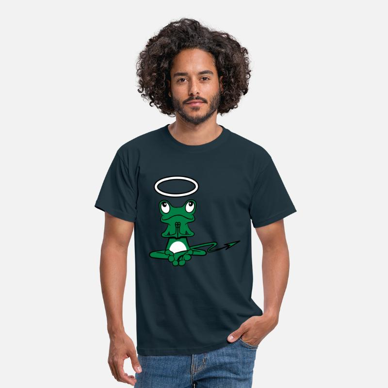 Frog T-Shirts - Frog Angel Devil Halo Devil tail - Men's T-Shirt navy