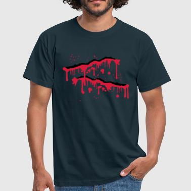 Blood wound splashes scratches slashed - Men's T-Shirt