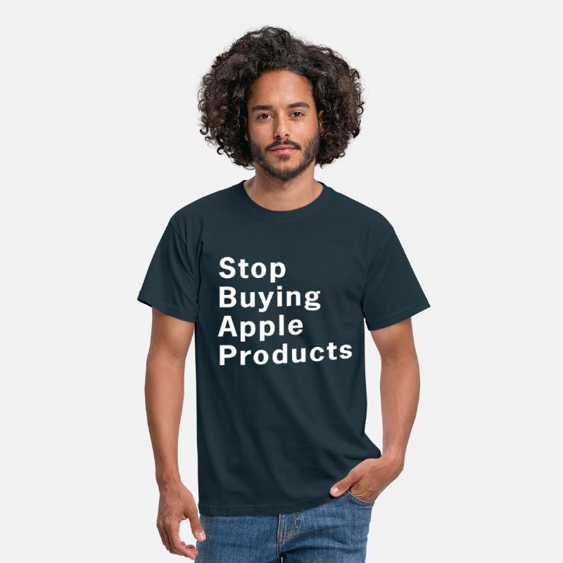 Apple T-Shirts - Stop Buying Apple Products T-Shirt - Men's T-Shirt navy