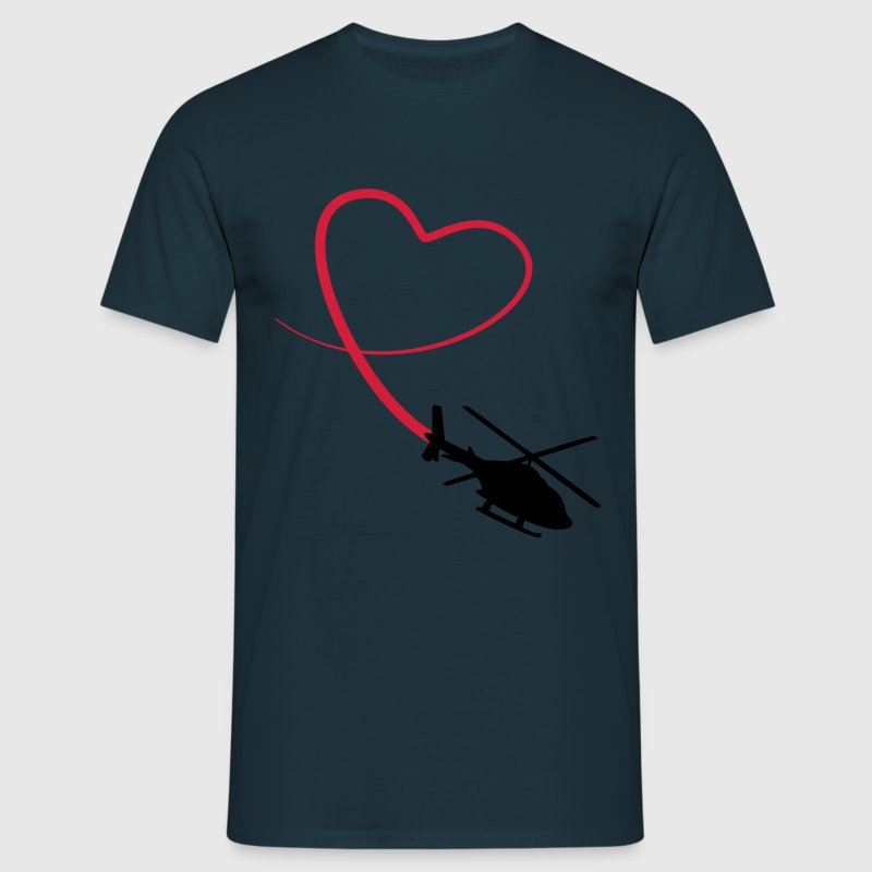 Helicopter Love Heart Looping - Men's T-Shirt
