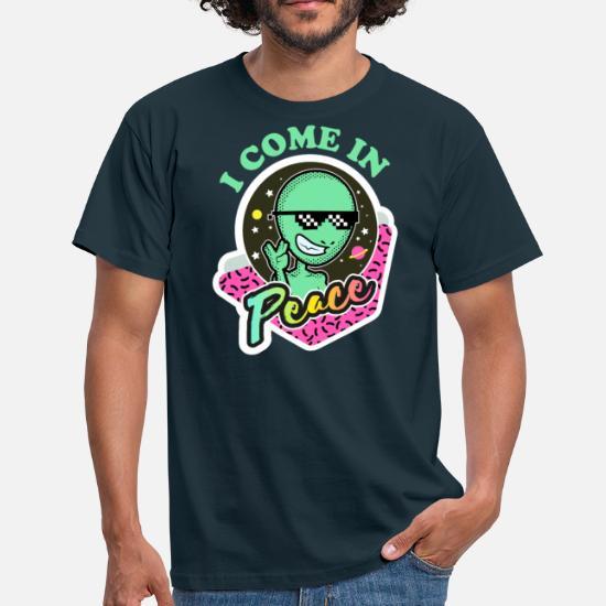 Alien Retro Peace Außerirdischer Cool Geschenk Männer T-Shirt - Navy