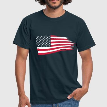 usa_flag_on_blue - Mannen T-shirt
