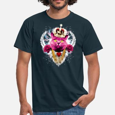 Muschi König Pink Cat the King - red roses rote Rosen Krone Crown - Männer T-Shirt