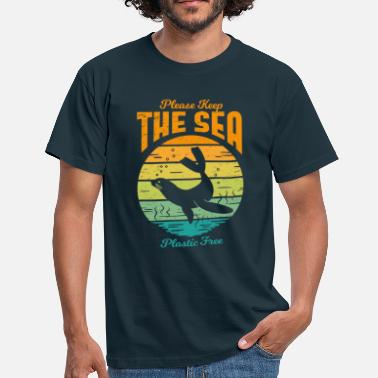 Plastic Pollution Please Keep the Sea Plastic Free Retro Seal - Men's T-Shirt