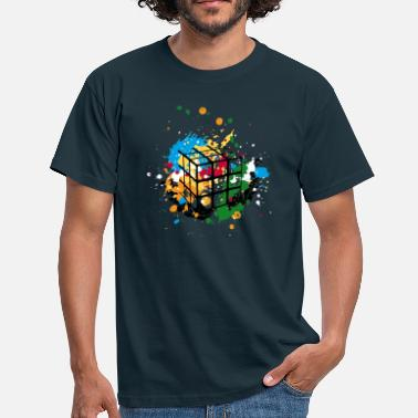 Tv Rubik's Cube Colourful Splatters - Mannen T-shirt