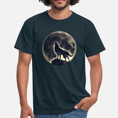 Wolf Wolf full moon, wolves, native, Indians, wild, dog - Men's T-Shirt