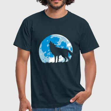 Howling Wolf At Full Moon (3C) - Men's T-Shirt