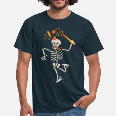 Ball And Chain Skeleton breaking skull with ball and chain flail - Men's T-Shirt