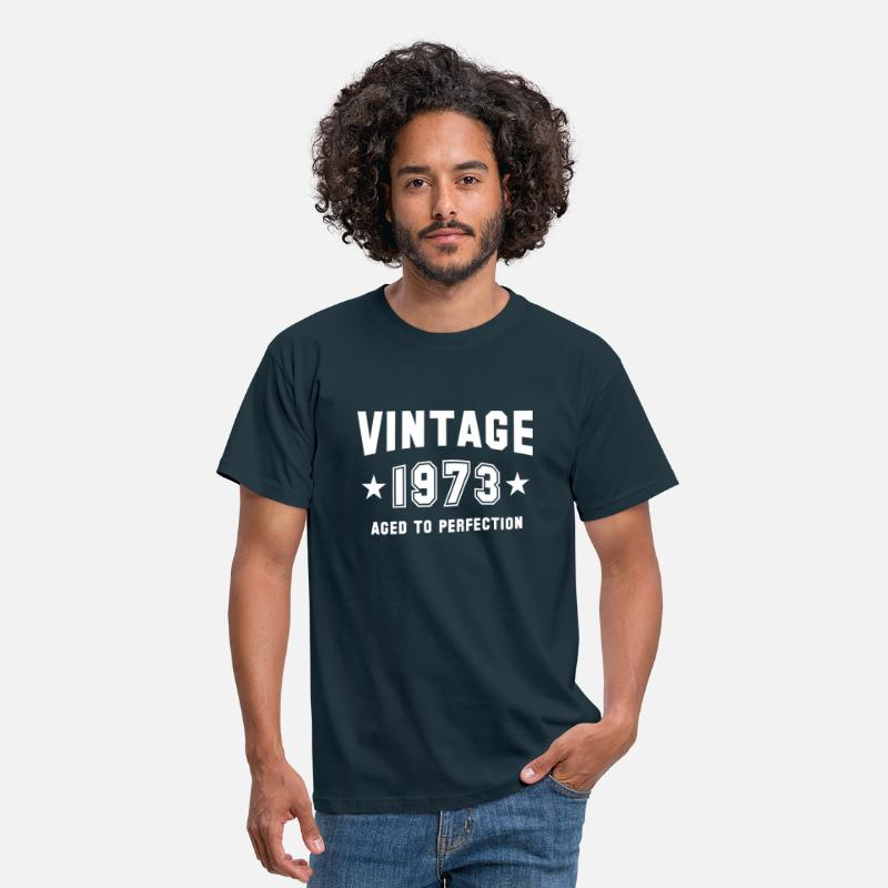 70s T-Shirts - VINTAGE 1973 - Birthday - Aged To Perfection - Men's T-Shirt navy