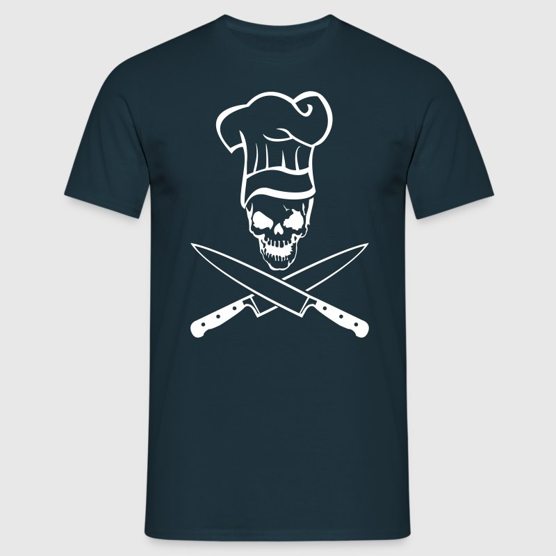 Skull with chef hat and knife  - Men's T-Shirt