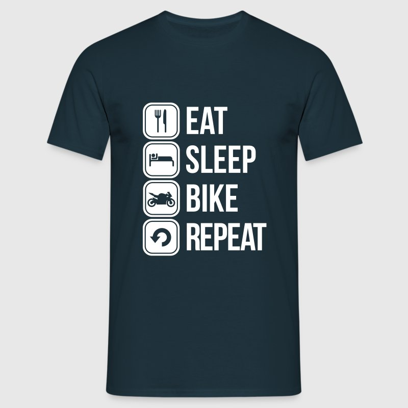 eat sleep bike repeat - Mannen T-shirt