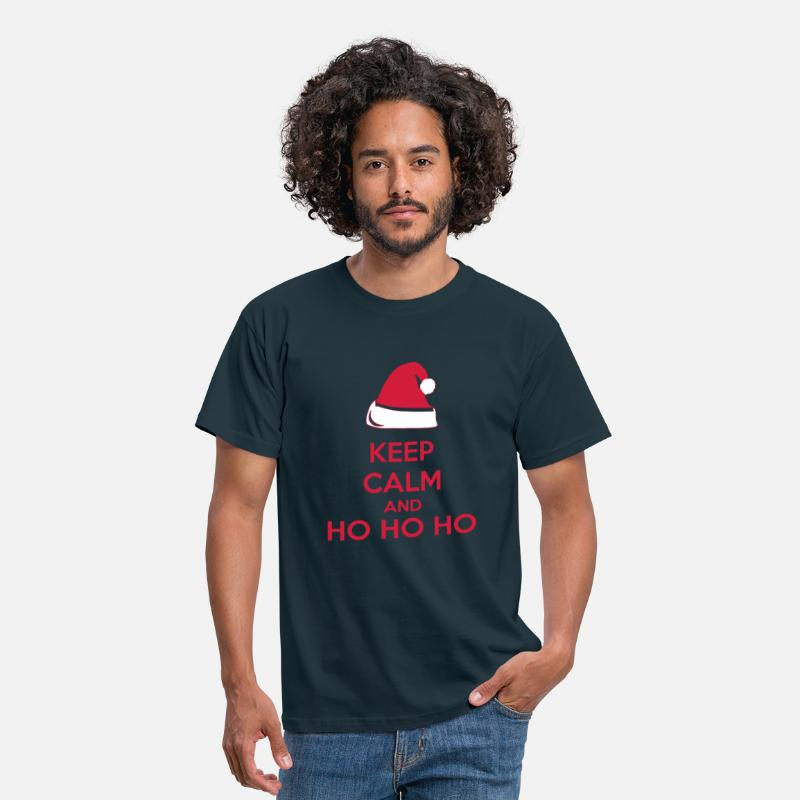 Kerst T-Shirts - Keep Calm And Ho Ho Ho - Mannen T-shirt navy