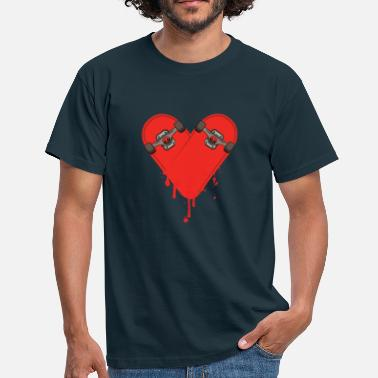 Skateboard Broken Bleeding Skateboard Heart - Men's T-Shirt