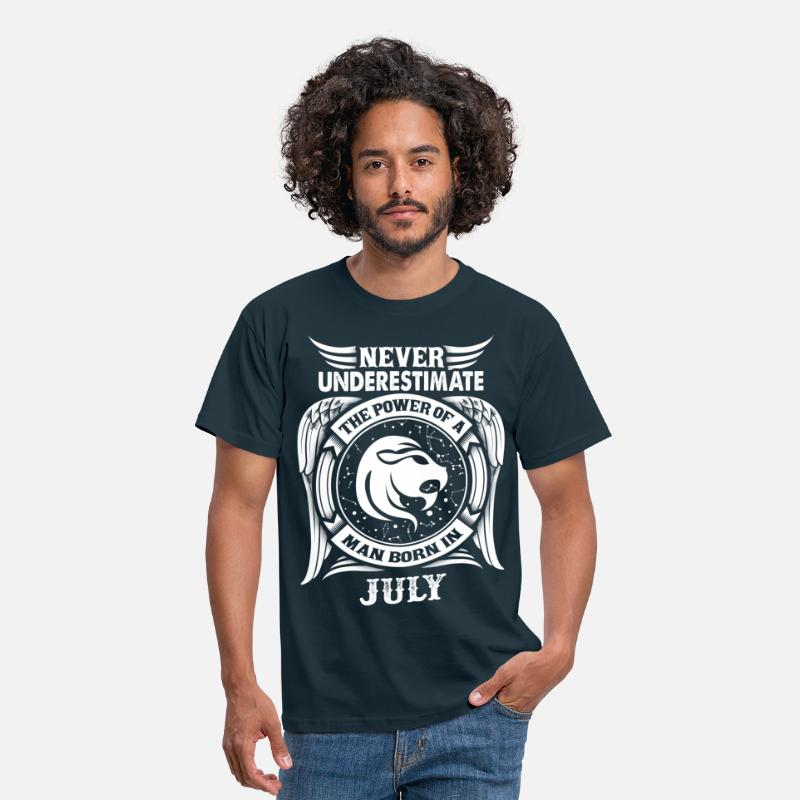 July T-Shirts - ...Power Of A Man Born In July, Leo Sign - Men's T-Shirt navy