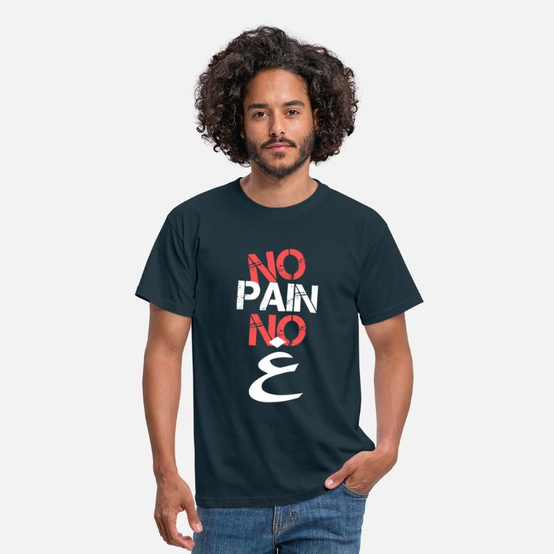 Cool T-Shirts - No Pain No Gain Arabic - Men's T-Shirt navy