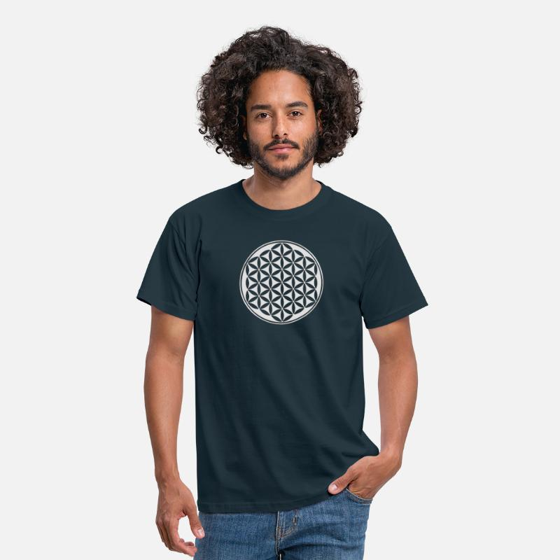 Fleur De Vie T-shirts - Fleur de vie - Flower of life - silver - sacred geometry - power of balancing and energizing, energy symbol - T-shirt Homme marine