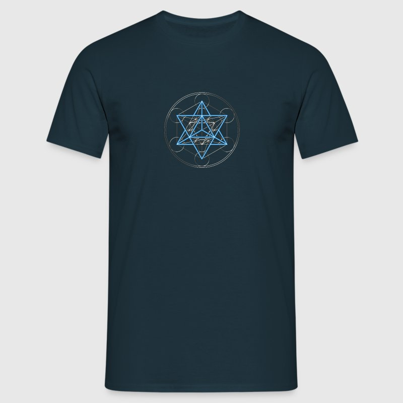 Star Tetrahedron - Merkaba, DD, silver blue,  Flower of Life, Sacred geometry, Platonic Solids - T-shirt Homme
