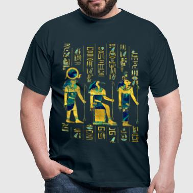 Egyptian Deities  on hieroglyphics gold and marble - Men's T-Shirt