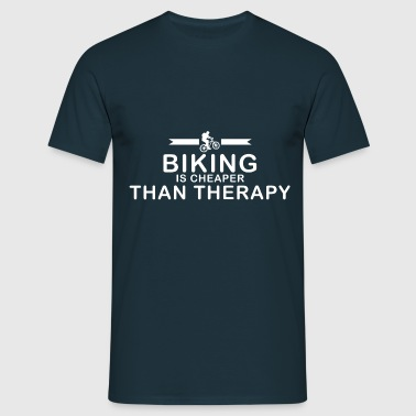 Mountainbiken is goedkoper dan therapie - Mannen T-shirt