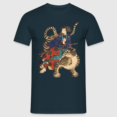 Samurai on Tiger - T-shirt herr