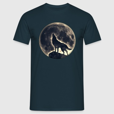 Wolf full moon, wolves, native, Indians, wild, dog - Men's T-Shirt