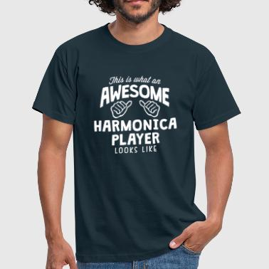 awesome harmonica player looks like - Men's T-Shirt
