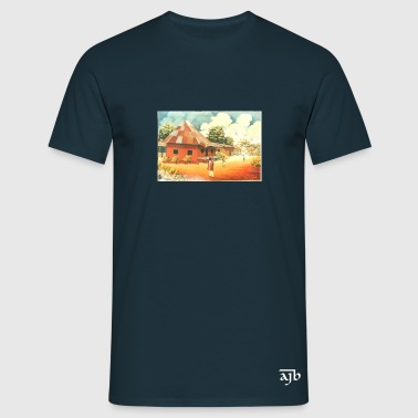 Rural African Village Scene Mug - Men's T-Shirt