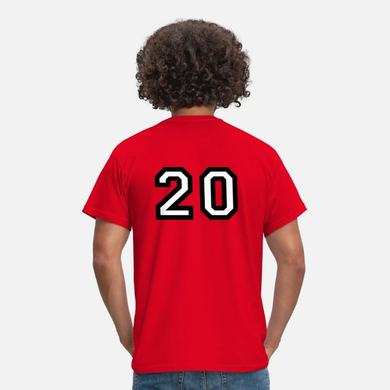 Football Basketball Handball Baseball T-Shirts - The number 20 - number twenty - Men's T-Shirt red