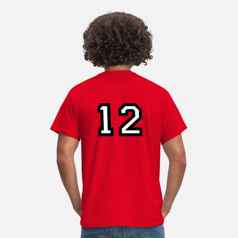 Jersey Number T-Shirts - The number 12 - number twelve - Men's T-Shirt red