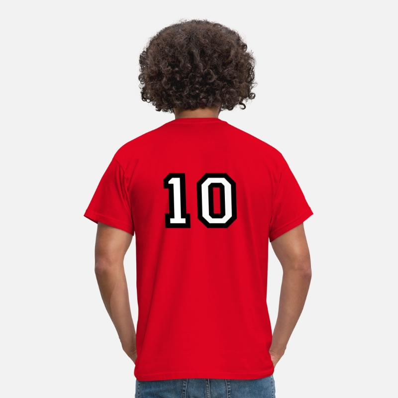 Baseball T-Shirts - The number 10 - number ten - Men's T-Shirt red