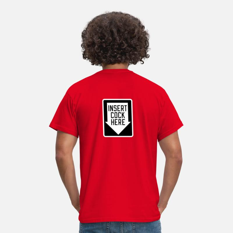 Here T-Shirts - Insert cock here | down - Men's T-Shirt red