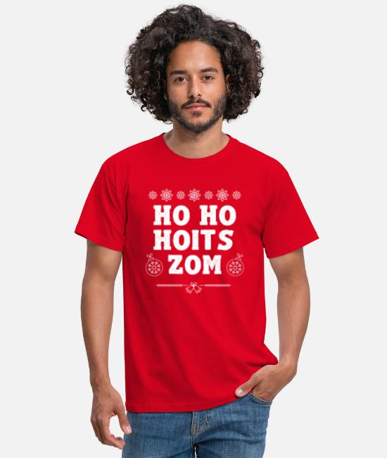 Lustige T-Shirts - HO HO HOITS ZOM - UGLY XMAS - WEIHNACHTS SWEATER - Männer T-Shirt Rot