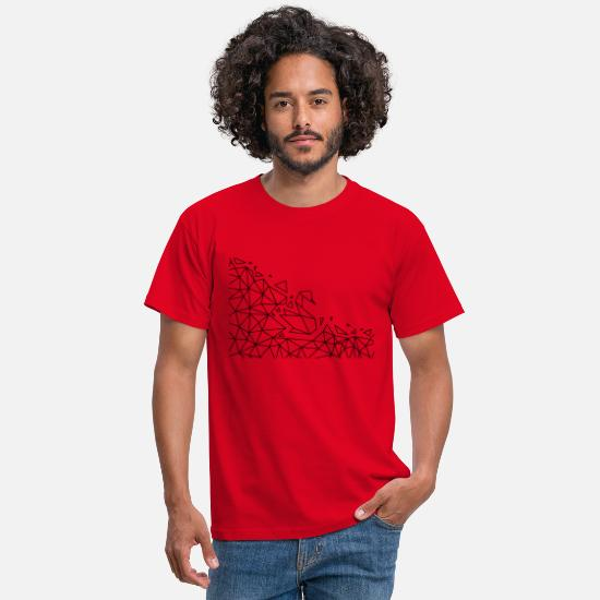 Line T-Shirts - Geometric Origami Swan - Men's T-Shirt red