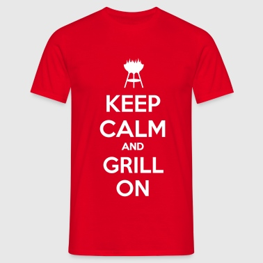 keep calm and grill on - Herre-T-shirt