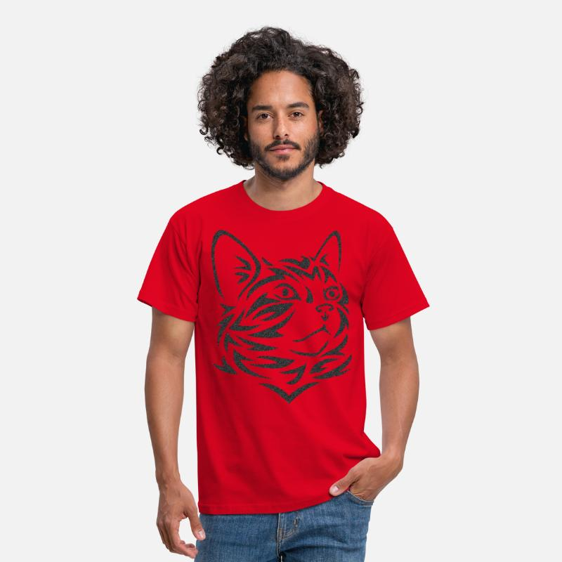 Chat T-shirts - Chat Tribal Tattoo - T-shirt Homme rouge