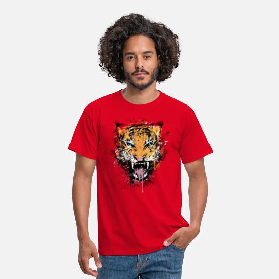 Nice T-Shirts - Dirty Tiger Rage - Men's T-Shirt red