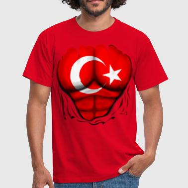 Turkish Hero Turkey Flag Ripped Muscles, six pack, chest t-shirt - Men's T-Shirt