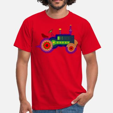 Driving Tractor, colorful, kids, tractor driving - Men's T-Shirt