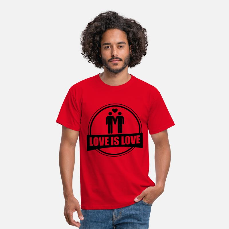 Gay Homo T-Shirts - LOVE IS LOVE GAY - Mannen T-shirt rood
