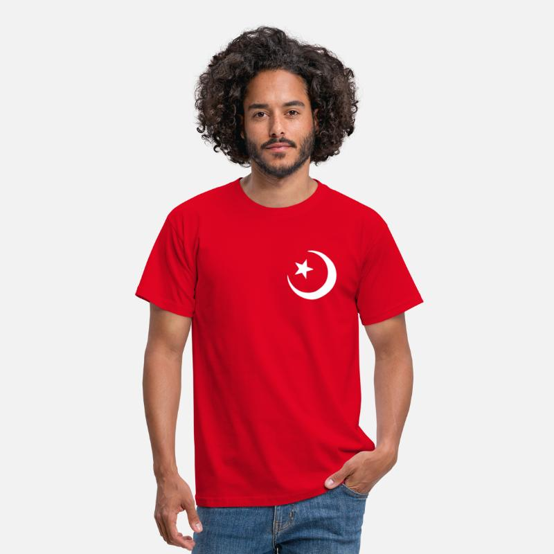 Half Moon T-Shirts - Islam - Crescent moon - Star  - Men's T-Shirt red