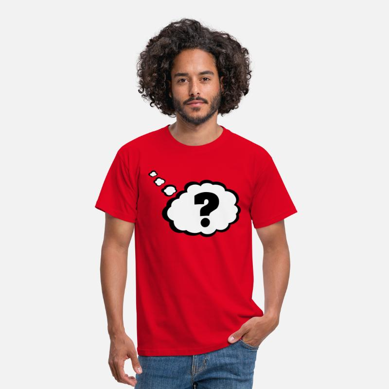 Question T-Shirts - Question mark in Thought Bubble  - Men's T-Shirt red
