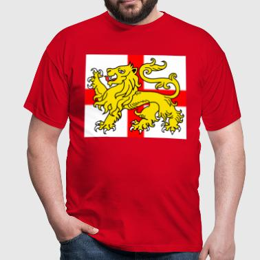 English Lion Passant on the St George's Cross - Men's T-Shirt