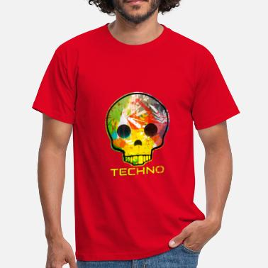 Funky Skull Techno Skull Funky Retro Colorful Pattern - Men's T-Shirt