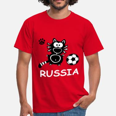 Catpaw Design Kater Katze Russia Fun Party Cool  - Maglietta da uomo