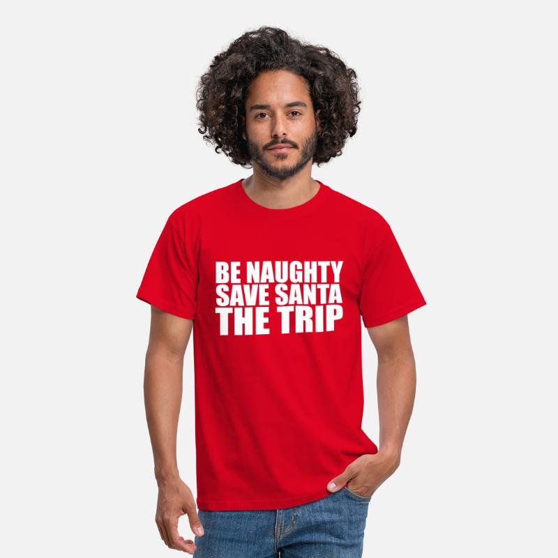 Claus T-shirts - Be Naughty - T-shirt Homme rouge
