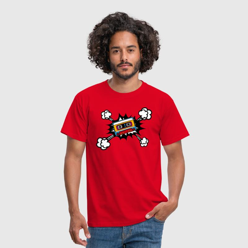 Retro cassette, tape, comic style, pop art, music - Camiseta hombre