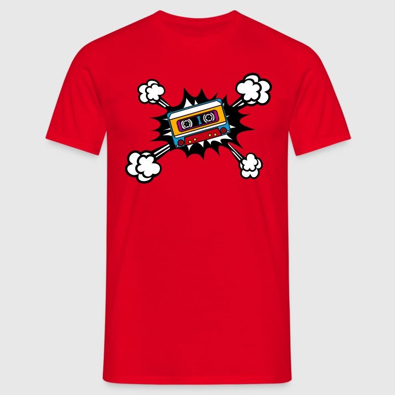 Retro cassette, tape, comic style, pop art, music - Men's T-Shirt
