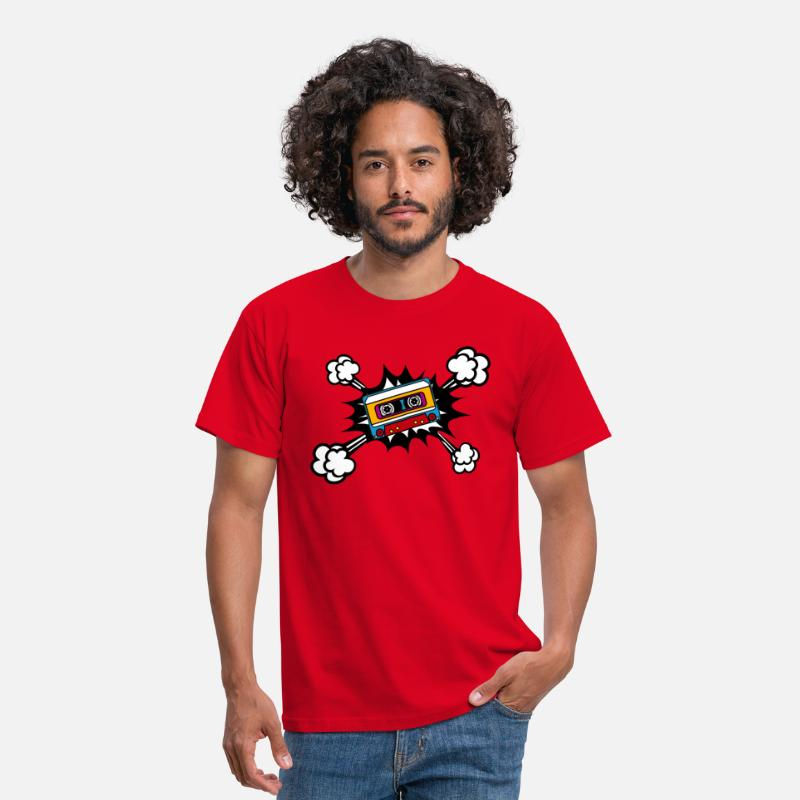 80er Divertido Fresco Camisetas - Retro cassette, tape, comic style, pop art, music - Camiseta hombre rojo